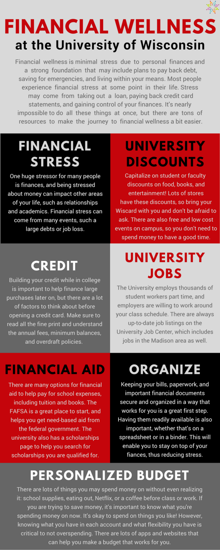 Financial Wellness at the University of Wisconsin. Financial wellness is minimal stress due to personal finances and a strong foundation that may include plans to pay back debt, saving for emergencies, and living within your means. Most people experience financial stress at some point in their life. Stress may come from taking out a loan, paying back credit card statements, and gaining control of your finances. It's nearly impossible to do all these things at once, but there are tons of resources to make the journey to financial wellness a bit easier. Financial stress: One huge stressor for many people is finances, and being stressed about money can impact other areas of your life, such as relationships and academics. Financial stress can come from many events, such a large debts or job loss. University Discounts: Capitalize on student or faculty discounts on food, books, and entertainment! Lots of stores have these discounts, so bring your Wiscard with you and don't be afraid to ask. There are also free and low cost events on campus, so you don't need to spend money to have a good time. Credit: Building your credit while in college is important to help finance large purchases later on, but there are a lot of factors to think about before opening a credit card. Make sure to read all the fine print and understand the annual fees, minimum balances, and overdraft policies. University Jobs: The University employs thousands of student workers part time, and employers are willing to work around your class schedule. There are always up-to-date job listings on the University Job Center, which includes jobs in the Madison area as well. Financial Aid: There are many options for financial aid to help pay for school expenses, including tuition and books. The FAFSA is a great place to start, and helps you get need-based aid from the federal government. The university also has a scholarships page to help you search for scholarships you are qualified for. Organize: Keeping your bi