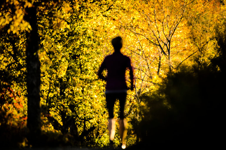 Runner along lakeshore path in the fall