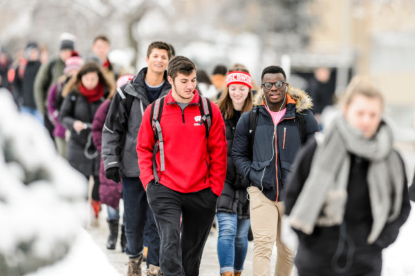 Students walking to class in the winter