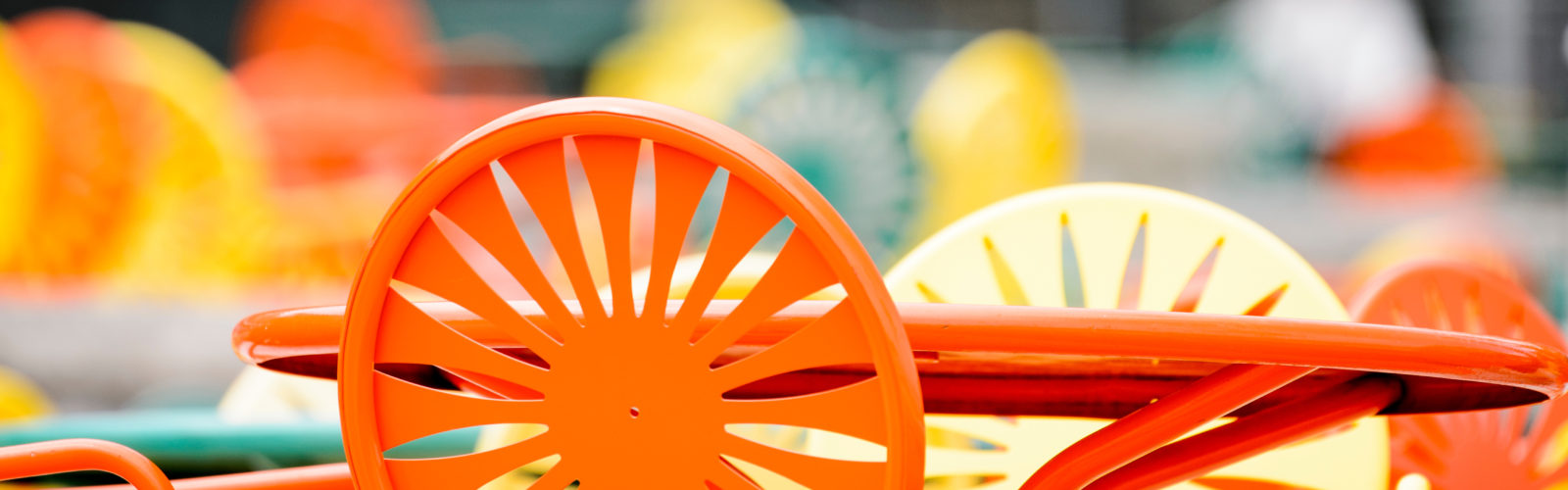 Orange terrace chair at a table