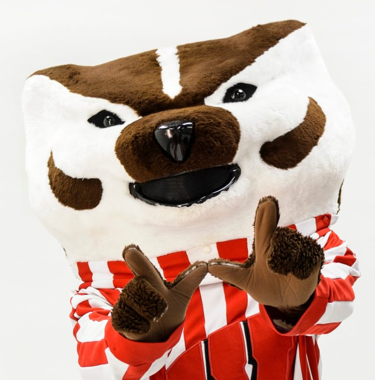 Bucky Badger giving the W hand sign